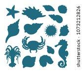 vector marine set of seashell ... | Shutterstock .eps vector #1073212826