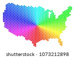 spectrum hexagon usa map.... | Shutterstock .eps vector #1073212898