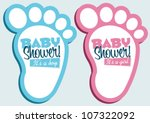 baby shower invitation feet | Shutterstock .eps vector #107322092