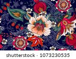 seamless pattern with folk... | Shutterstock .eps vector #1073230535