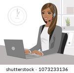pretty black girl operator with ... | Shutterstock .eps vector #1073233136