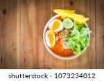 spicy noodle in bowl. over...   Shutterstock . vector #1073234012