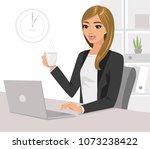 pretty businesswoman holding... | Shutterstock .eps vector #1073238422