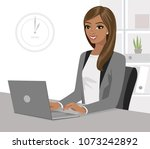 pretty black businesswoman... | Shutterstock .eps vector #1073242892