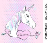 magic unicorn with lettering.... | Shutterstock .eps vector #1073243522