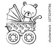 grunge bear teddy animal inside ... | Shutterstock .eps vector #1073249786