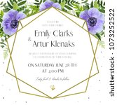 wedding invitation  floral... | Shutterstock .eps vector #1073252522