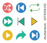 set of 9 arrows flat icons such ... | Shutterstock .eps vector #1073256152