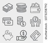 set of 9 money lineal icons... | Shutterstock .eps vector #1073258792