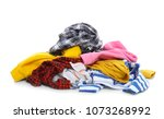 pile of dirty clothes on white... | Shutterstock . vector #1073268992