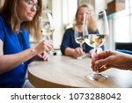 ladies friends night out wine... | Shutterstock . vector #1073288042