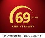 69 years golden anniversary... | Shutterstock .eps vector #1073320745