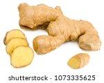 ginger root isolated on white... | Shutterstock . vector #1073335625
