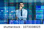 stock market top trader looks... | Shutterstock . vector #1073338025