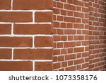red brick wall in perspective.... | Shutterstock . vector #1073358176