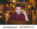 young handsome caucasian man... | Shutterstock . vector #1073359172