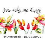 tulips  poppies and...   Shutterstock . vector #1073360972