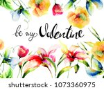 wild flowers with title be my...   Shutterstock . vector #1073360975