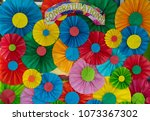 colored paper folded into a... | Shutterstock . vector #1073367302