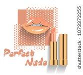 lips and lipstick in comic pop... | Shutterstock .eps vector #1073372255