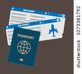 passport with tickets flat icon ... | Shutterstock .eps vector #1073381792