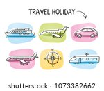 icon set travel holidays ... | Shutterstock .eps vector #1073382662