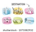 set of holiday destination... | Shutterstock .eps vector #1073382932