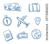 icon set travel holidays ... | Shutterstock .eps vector #1073383652