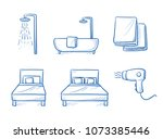 hotel room type icon set  for...   Shutterstock .eps vector #1073385446