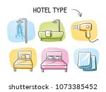 hotel room type icon set  for... | Shutterstock .eps vector #1073385452