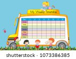 weekly timetable on school bus... | Shutterstock .eps vector #1073386385