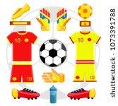 soccer player european football ... | Shutterstock .eps vector #1073391788