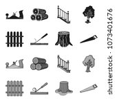 fence  chisel  stump  hacksaw...   Shutterstock .eps vector #1073401676