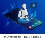 isometric science teacher bot... | Shutterstock .eps vector #1073410586