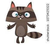 funny cartoon raccoon giving a... | Shutterstock .eps vector #1073425322