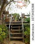 beautiful balcony in garden | Shutterstock . vector #1073435288