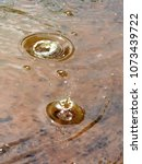 Small photo of Bubbles formed during rain burst making concentric circles on the surface of a puddle.
