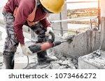 road repairing works with...   Shutterstock . vector #1073466272