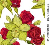 vector seamless flower pattern... | Shutterstock .eps vector #1073488118