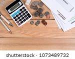top view  school fee past due... | Shutterstock . vector #1073489732