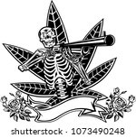 skull  guns and grass | Shutterstock . vector #1073490248
