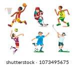 health sport and wellness flat... | Shutterstock .eps vector #1073495675