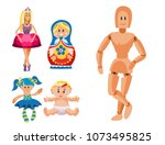 different dolls toy character... | Shutterstock .eps vector #1073495825