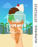 hello summer banner with ice... | Shutterstock .eps vector #1073512415
