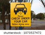 caution street sign | Shutterstock . vector #1073527472