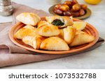 arabic and middle eastern food... | Shutterstock . vector #1073532788