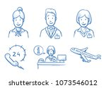 hotel staff icon set with... | Shutterstock .eps vector #1073546012