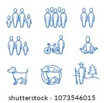 Stock vector holiday travel set with icons for group single couple family hiking oder bike touring trips 1073546015