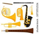 wind musical instruments tools... | Shutterstock .eps vector #1073551526