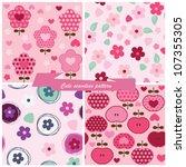 set seamless pattern flowers... | Shutterstock .eps vector #107355305